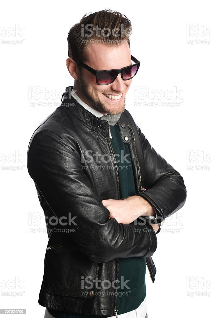 Fashionable man in glasses stock photo