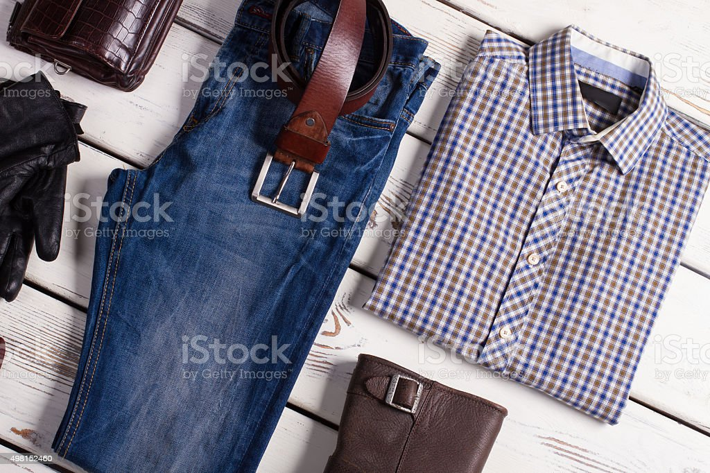 Fashionable men's clothing. stock photo