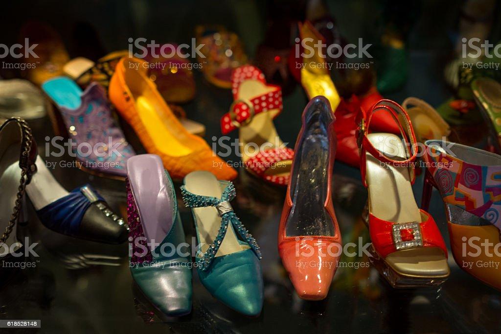 Fashionable  miniature shoes stock photo