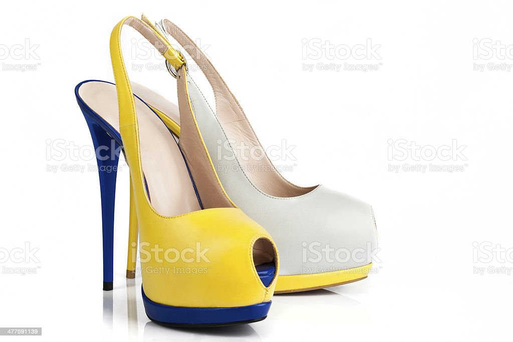 Fashionable Multi-Colored Peep-toe High Heels in fancy colors stock photo