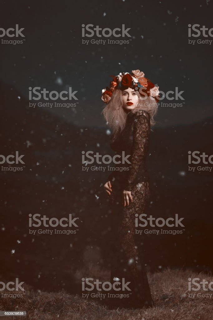 fashionable nymph in the cold night stock photo