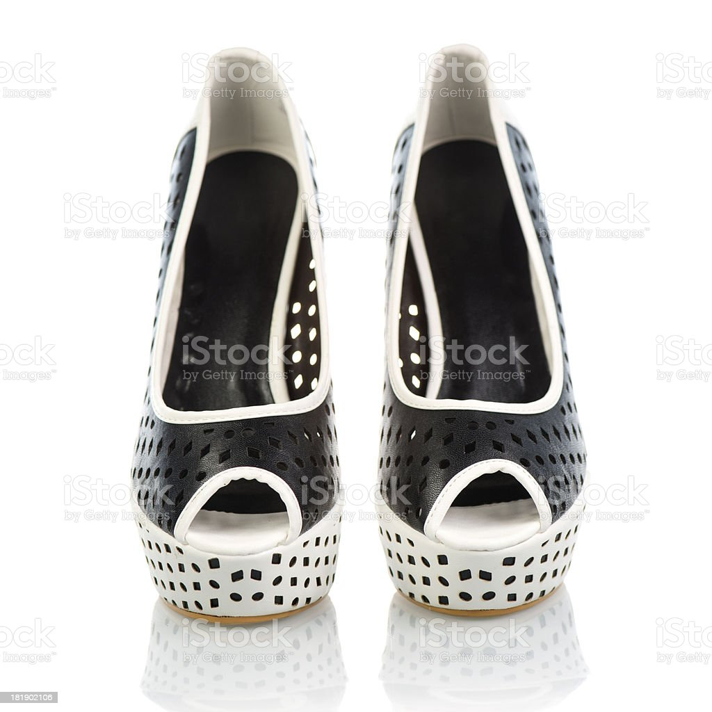Fashionable Peeptoe High Heels in black and white royalty-free stock photo
