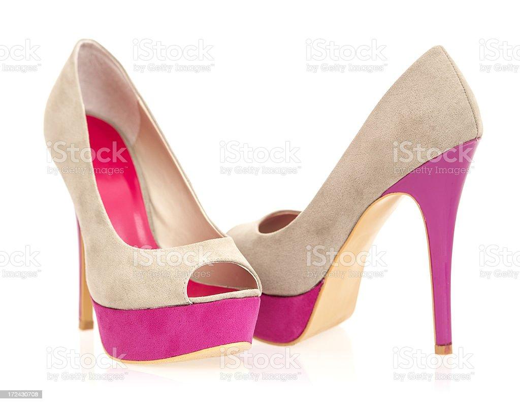 Fashionable Peeptoe High Heels in fancy colors royalty-free stock photo