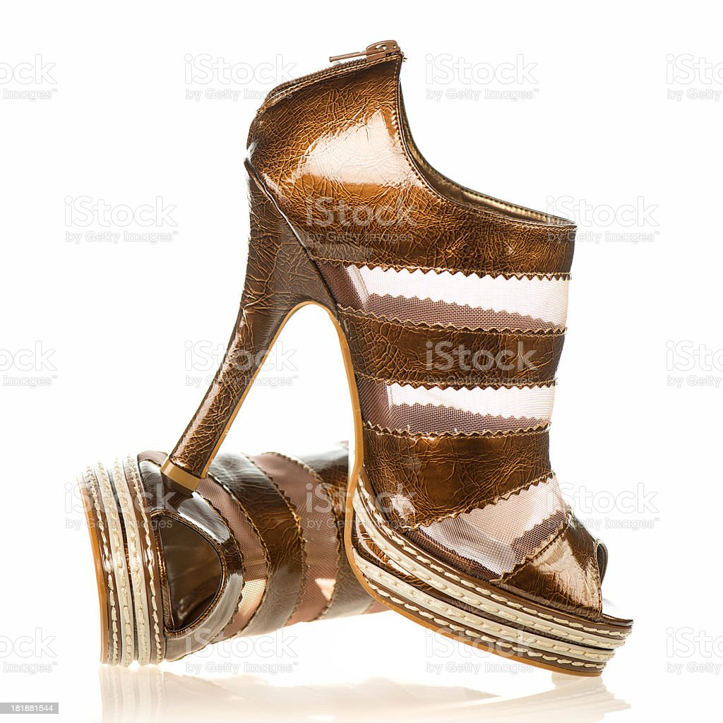 Fashionable platform High Heels ankle boots royalty-free stock photo