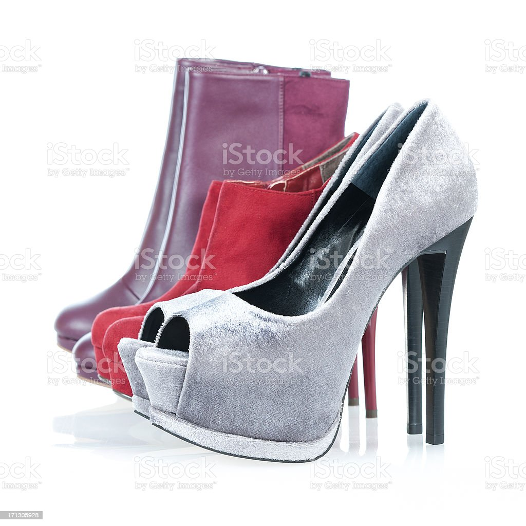 Fashionable platform High Heels pumps and ankle bootes stock photo