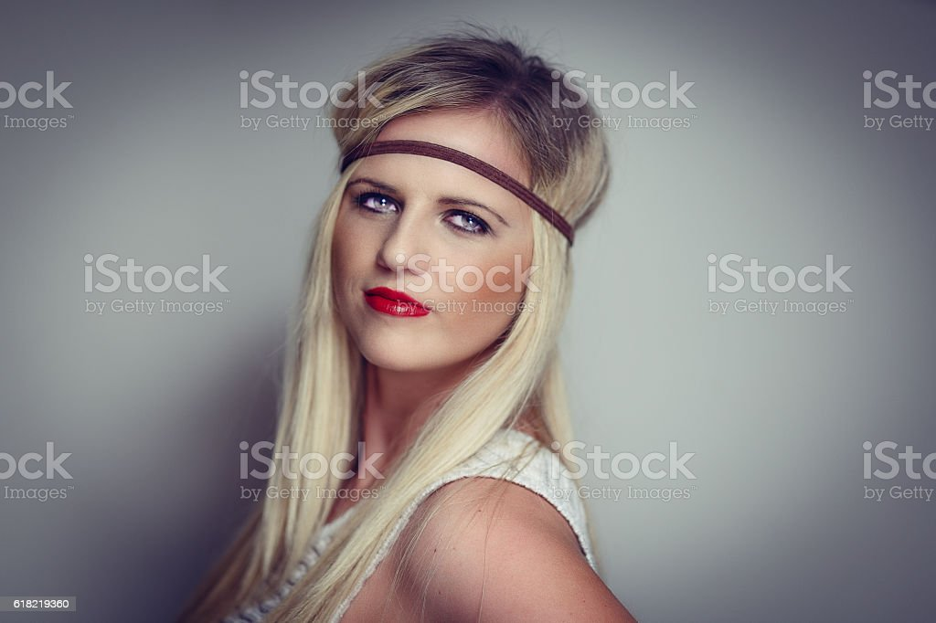 Fashionable pretty blonde with headband stock photo