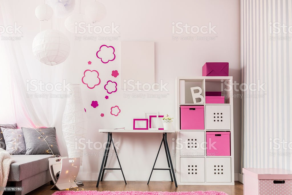 Fashionable room with modern furniture stock photo