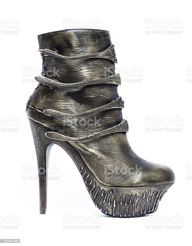 Fashionable steam punk ankle boots royalty-free stock photo