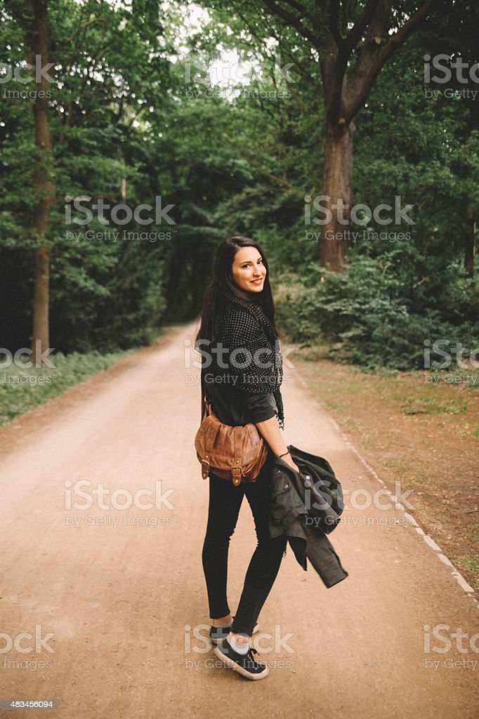 fashionable tourist in the park stock photo