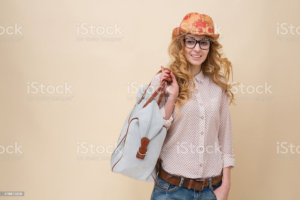 Fashionable traveller stock photo