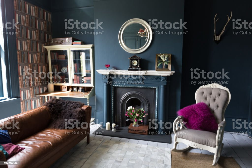 Fashionable vintage styled living room stock photo