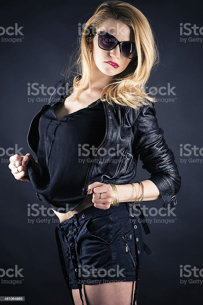 fashionable woman in a jacket royalty-free stock photo