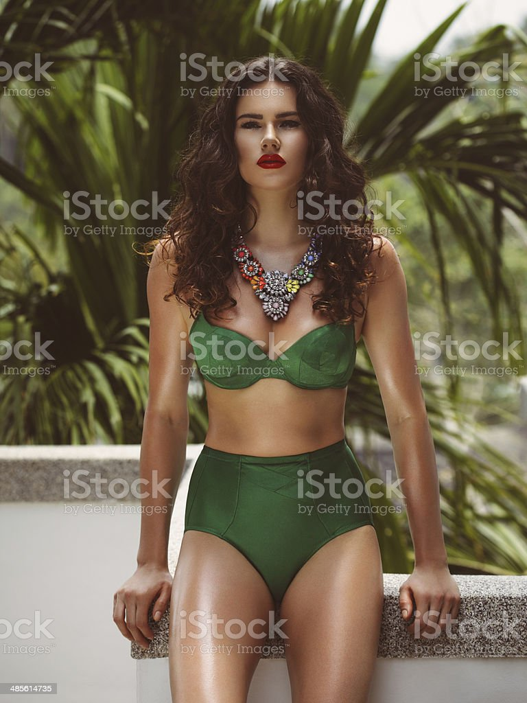 Fashionable woman in bikini stock photo