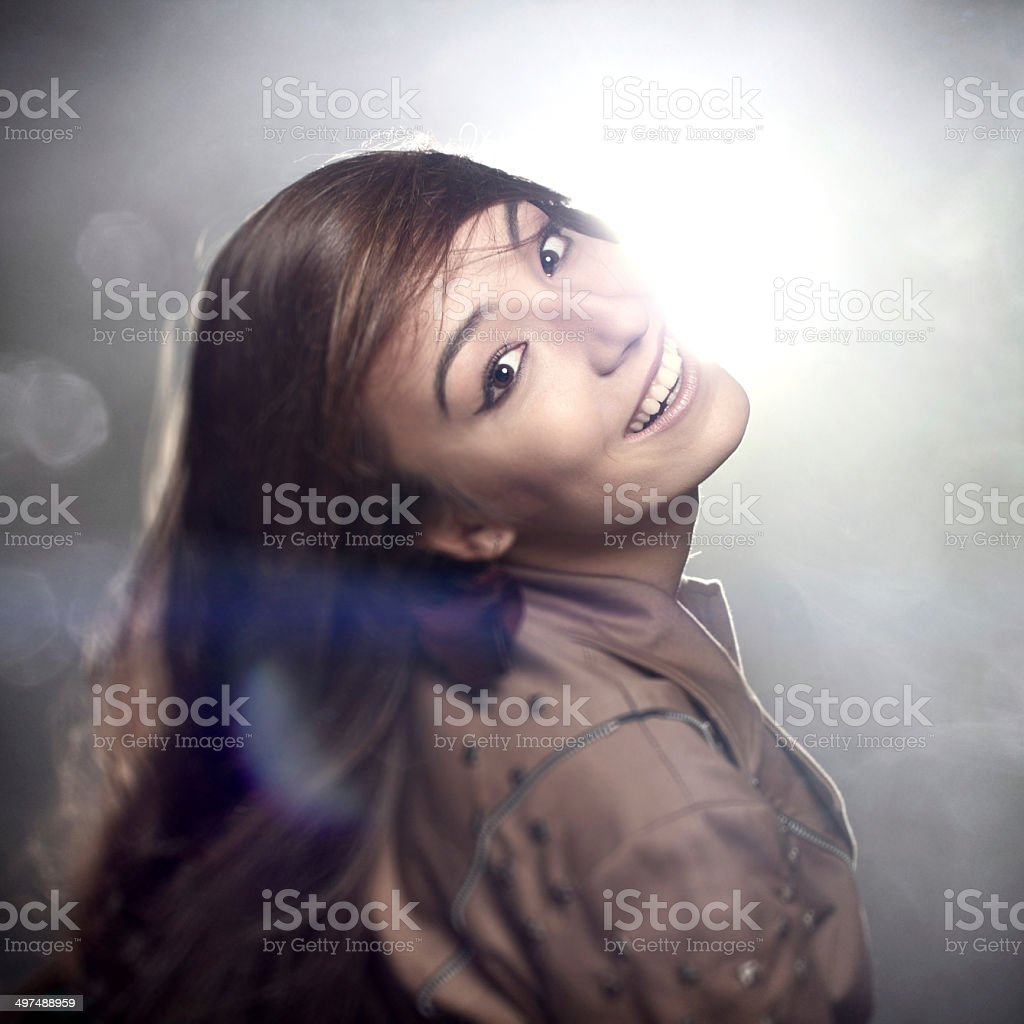 Fashionable woman looking back royalty-free stock photo