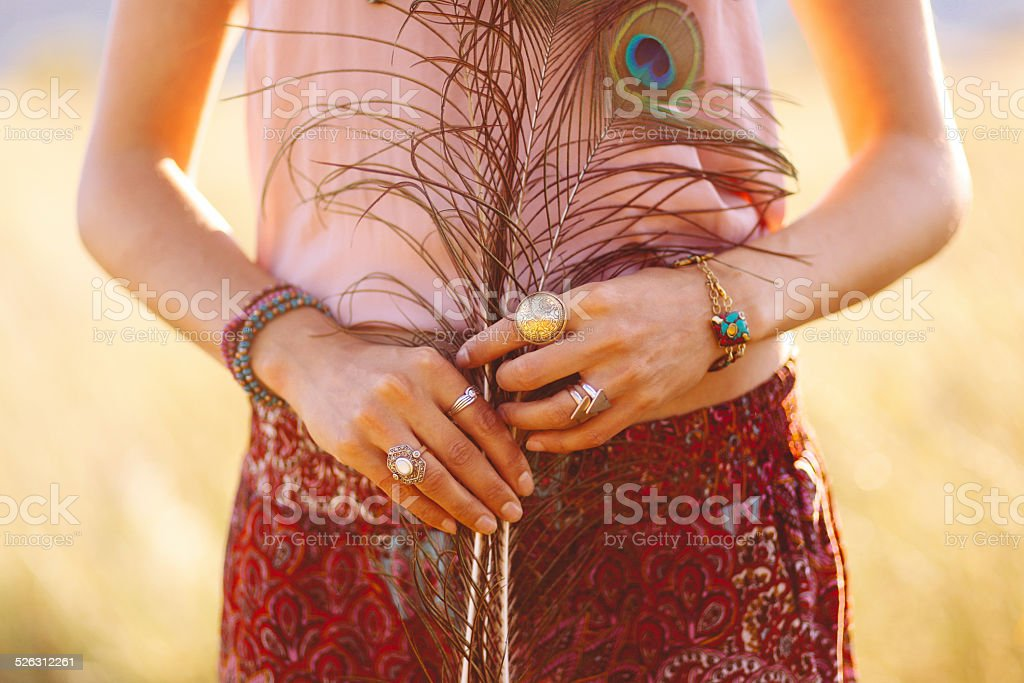 fashionable woman wearing gypsy vintage accessories stock photo