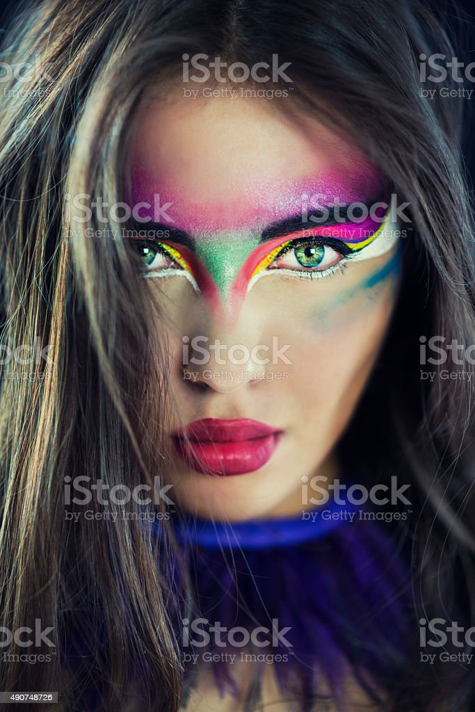 Fashionable Woman with Artistic Colorful Make-up stock photo