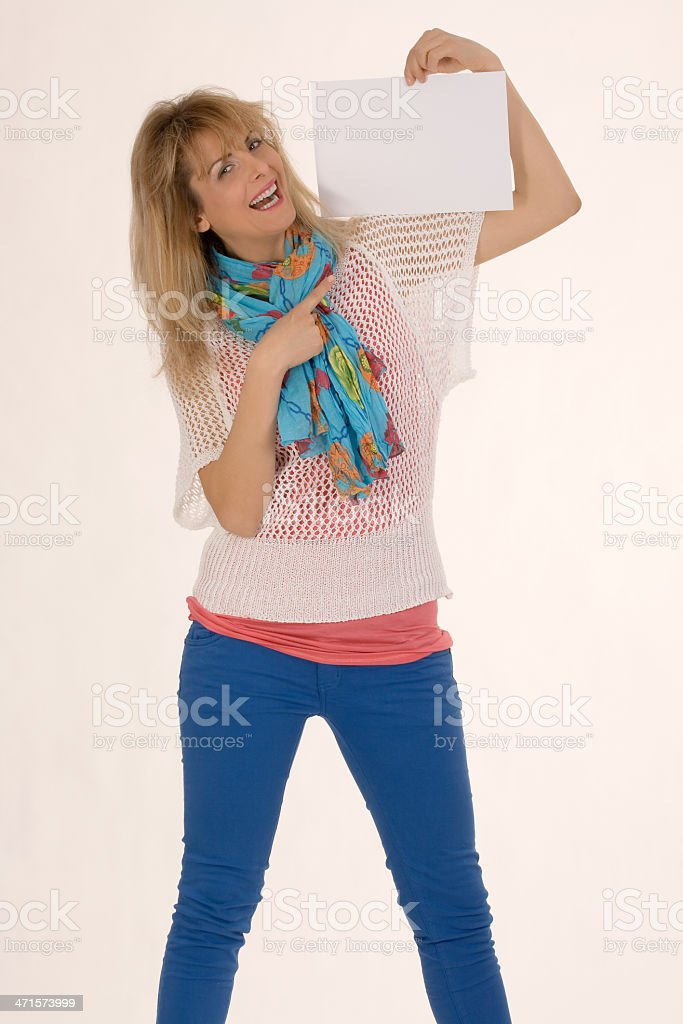 Fashionable Woman with sign royalty-free stock photo