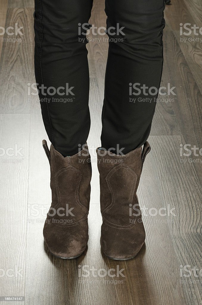 Fashionable women shoes in the office royalty-free stock photo