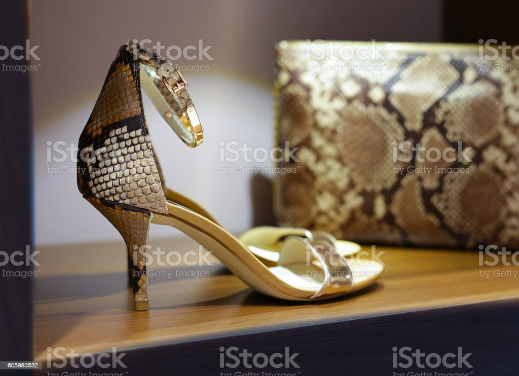 Fashionable womens high heels and purse stock photo