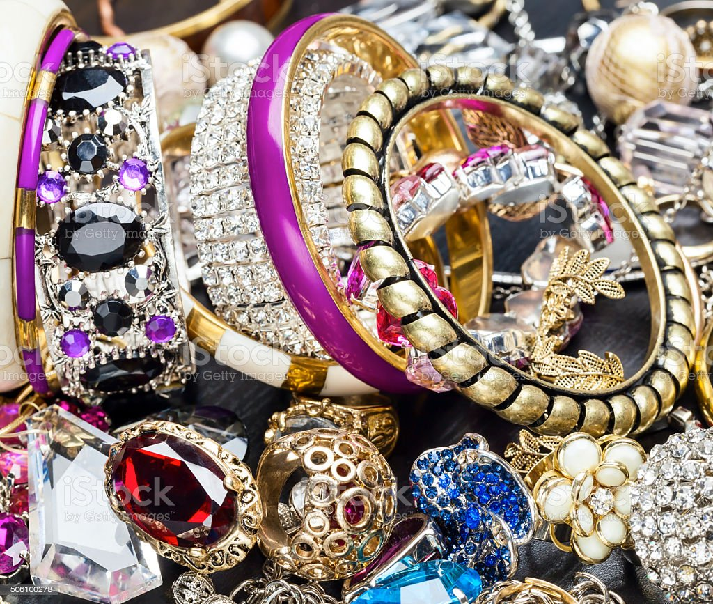 Fashionable women's jewelry stock photo