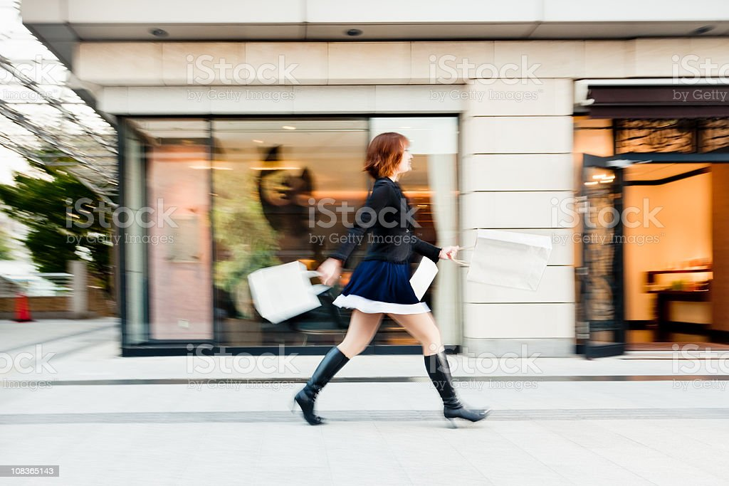 Fashionable Young Woman Tokyo Shopping Mall stock photo