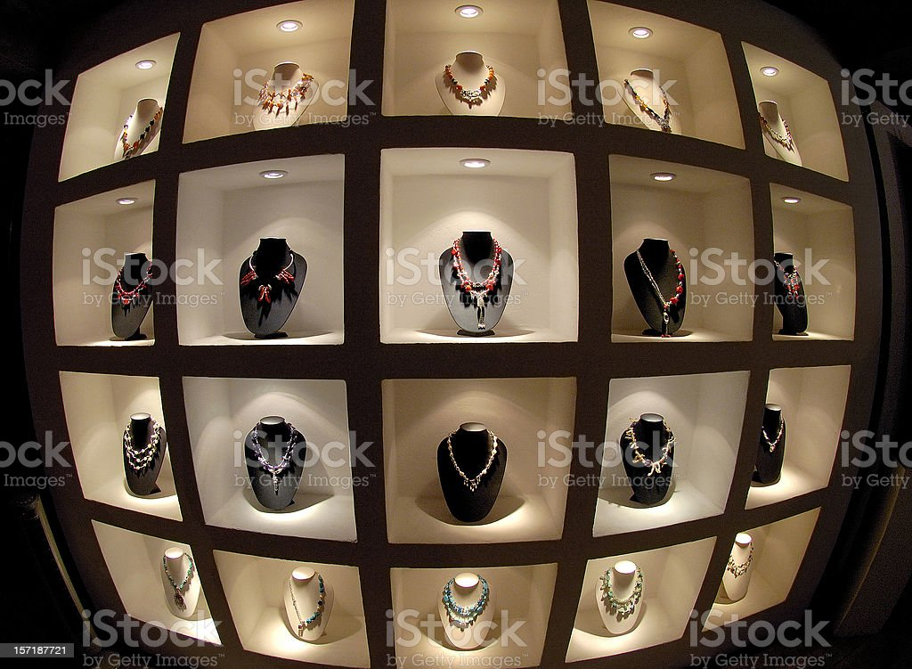 fashionables necklaces in chic boutique royalty-free stock photo