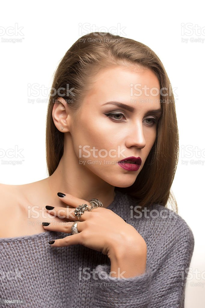 Fashionale expression regret, moody, resentful, remorse stock photo