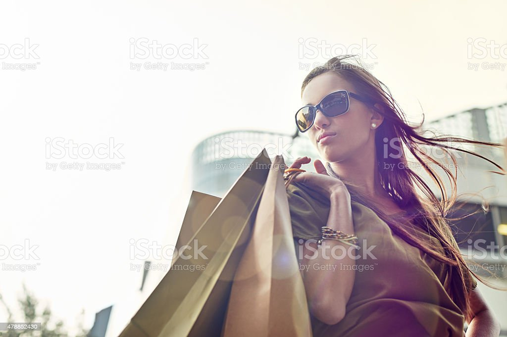 Fashionista on the move stock photo
