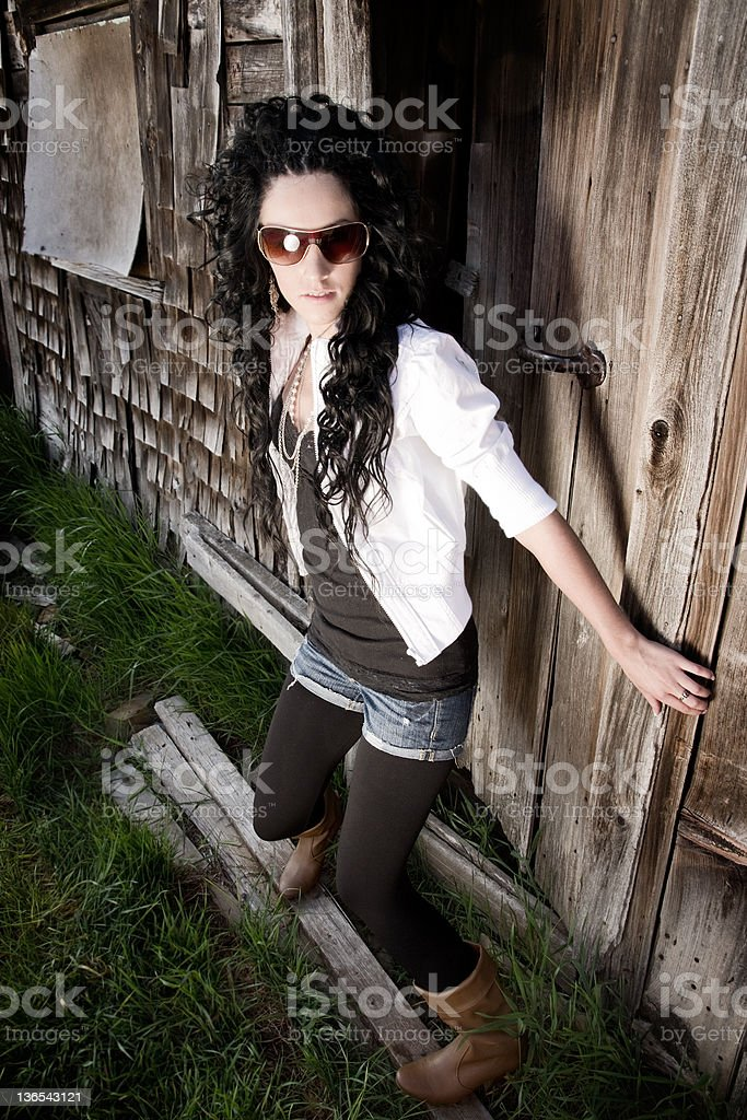 fashon model outside barn royalty-free stock photo