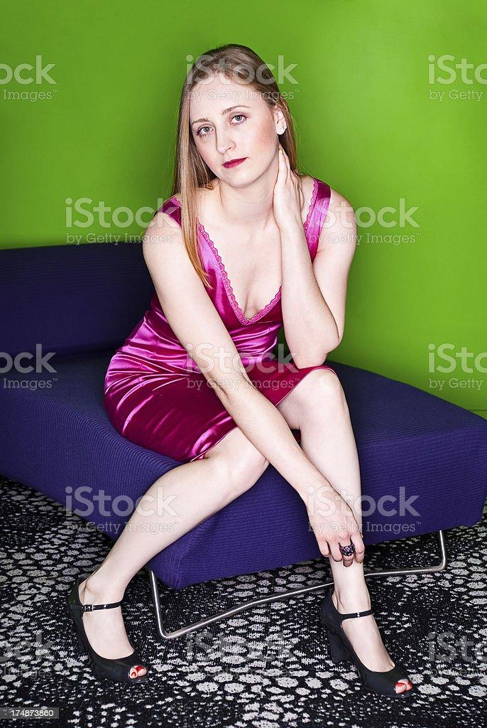 Fashonable Woman Sitting royalty-free stock photo