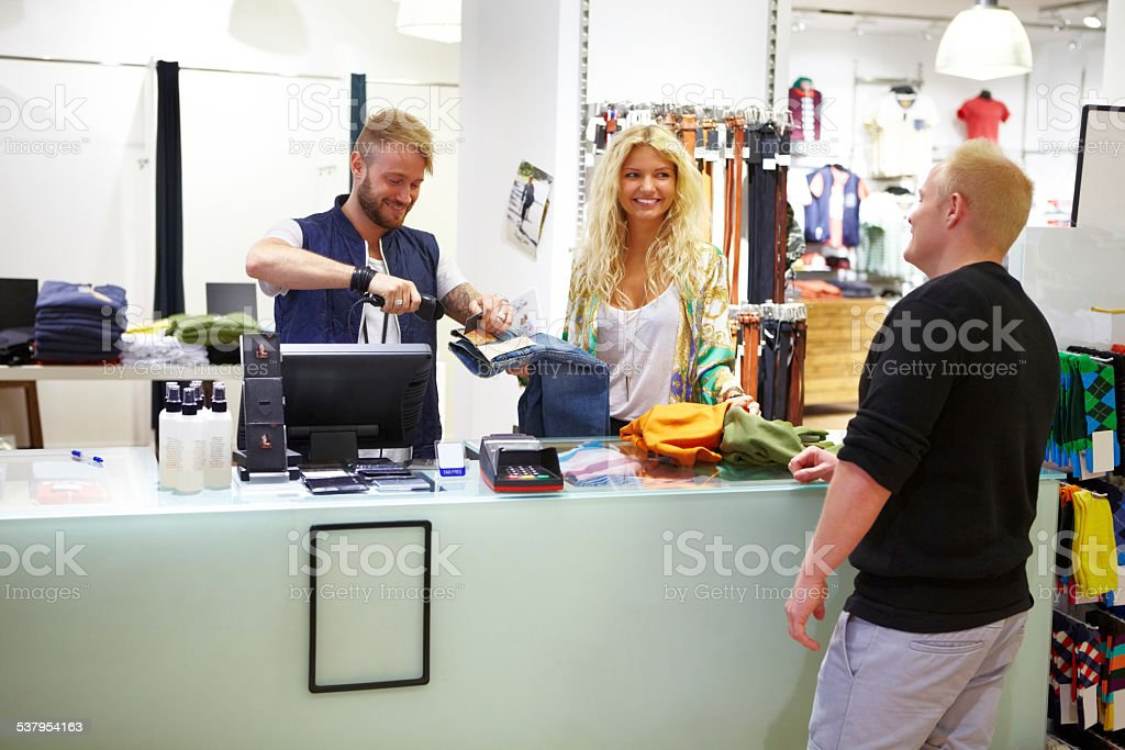 Fast and friendly point of sale stock photo
