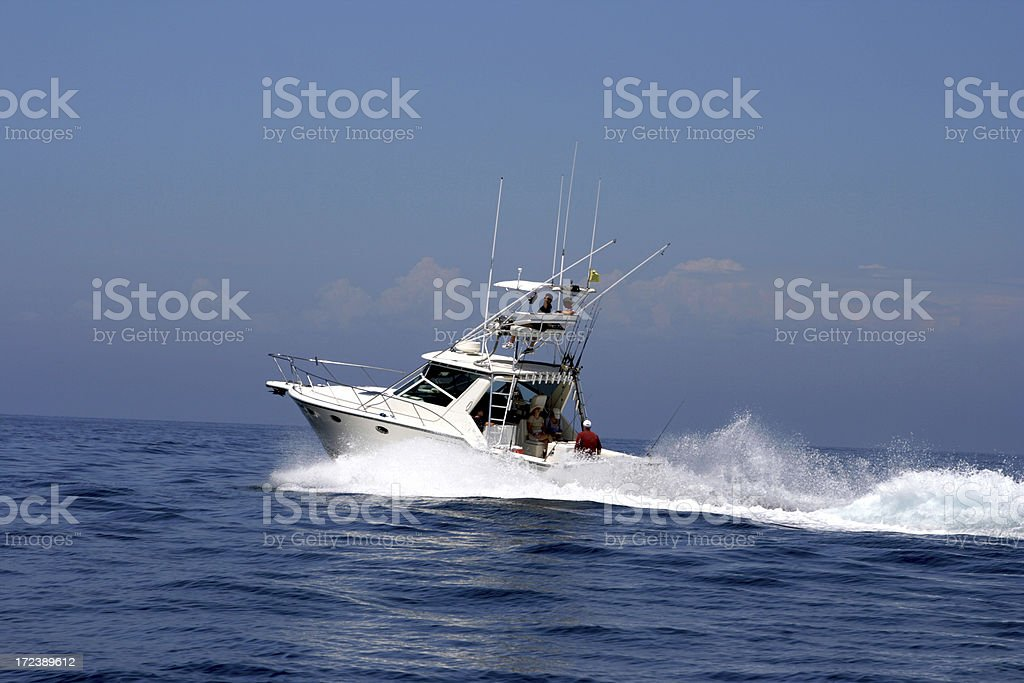 Fast Boater Wake in Ocean Fishing Tower royalty-free stock photo
