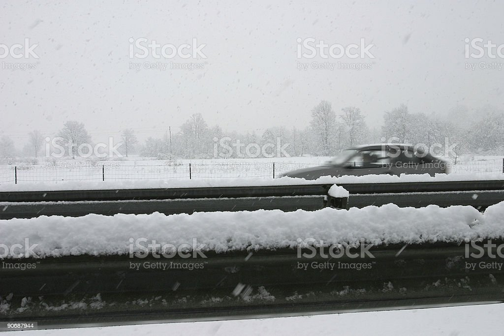 Fast car in snow royalty-free stock photo