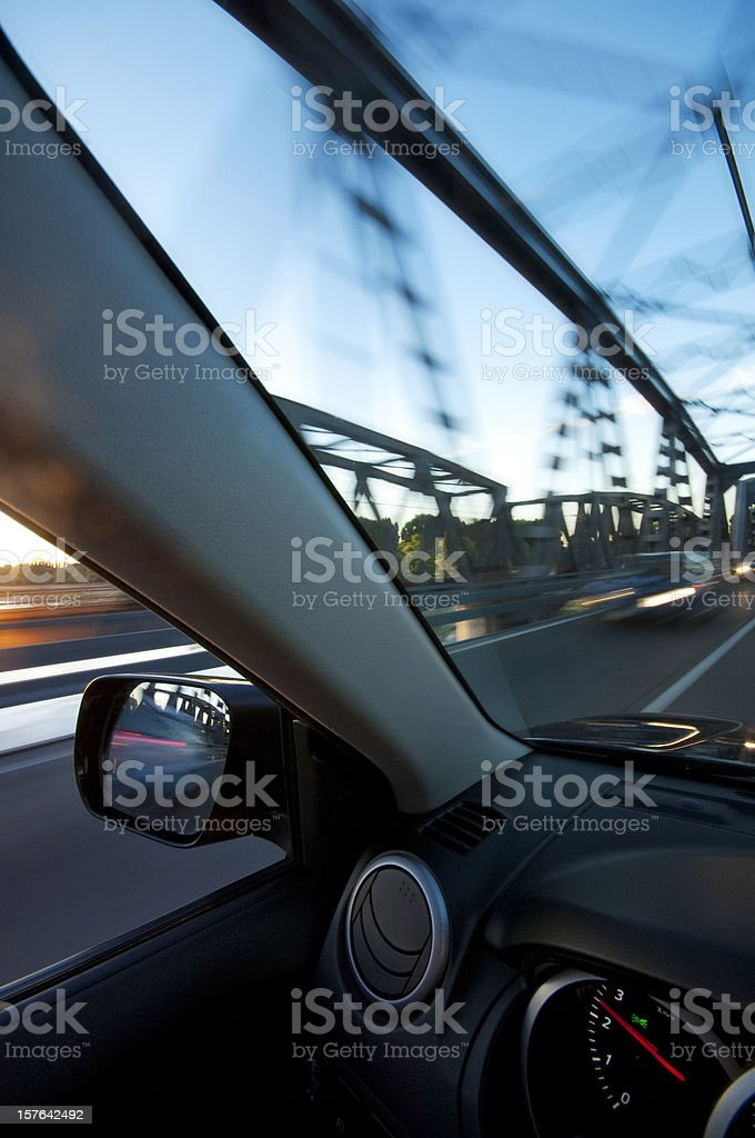 Fast Car on the Bridge royalty-free stock photo