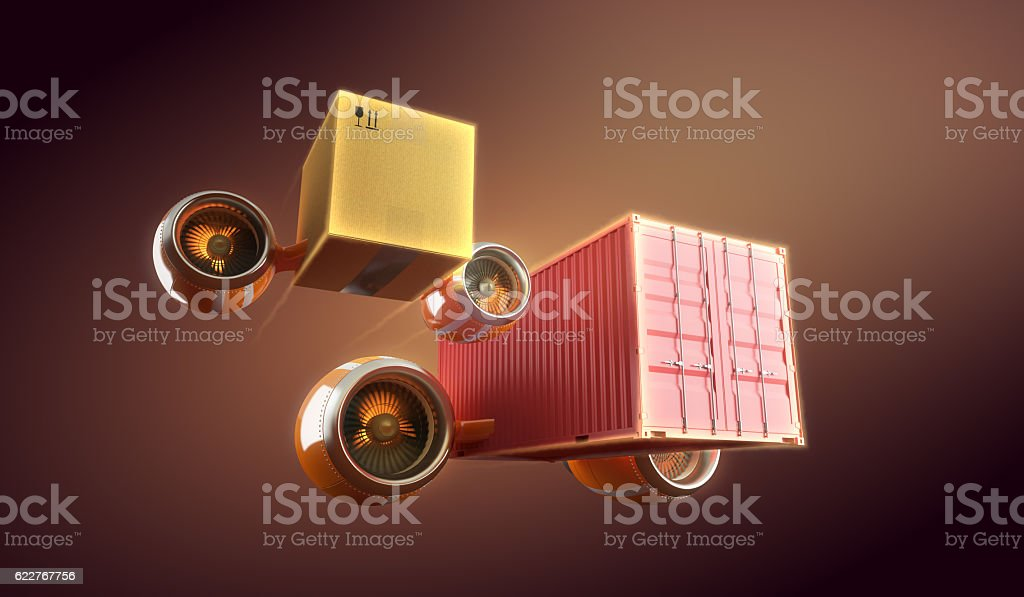 Fast cargo and goods container express delivery. stock photo