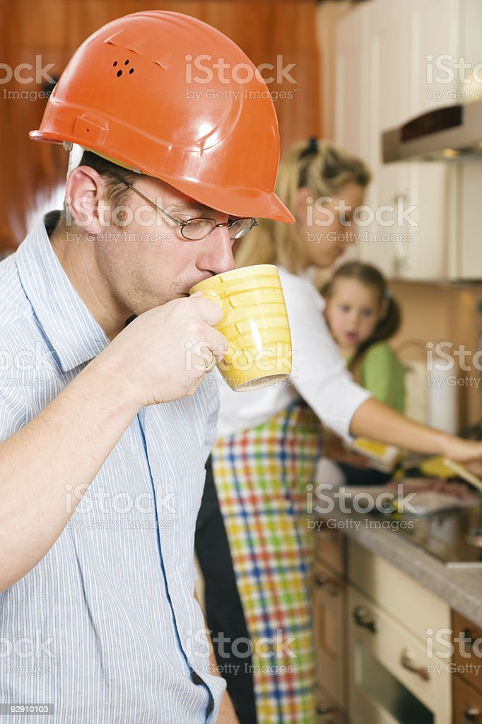 Fast coffee before starting to work royalty-free stock photo