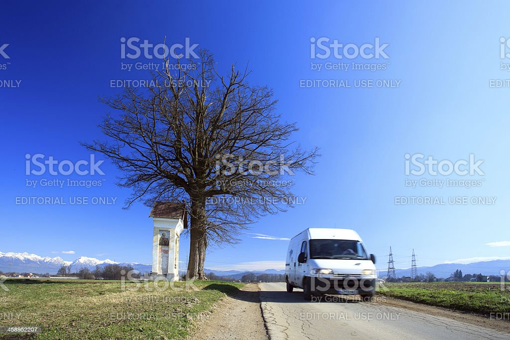 Fast delivery at the chapel stock photo