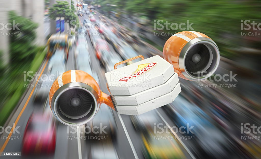 Fast delivery of pizza through a traffic jam stock photo