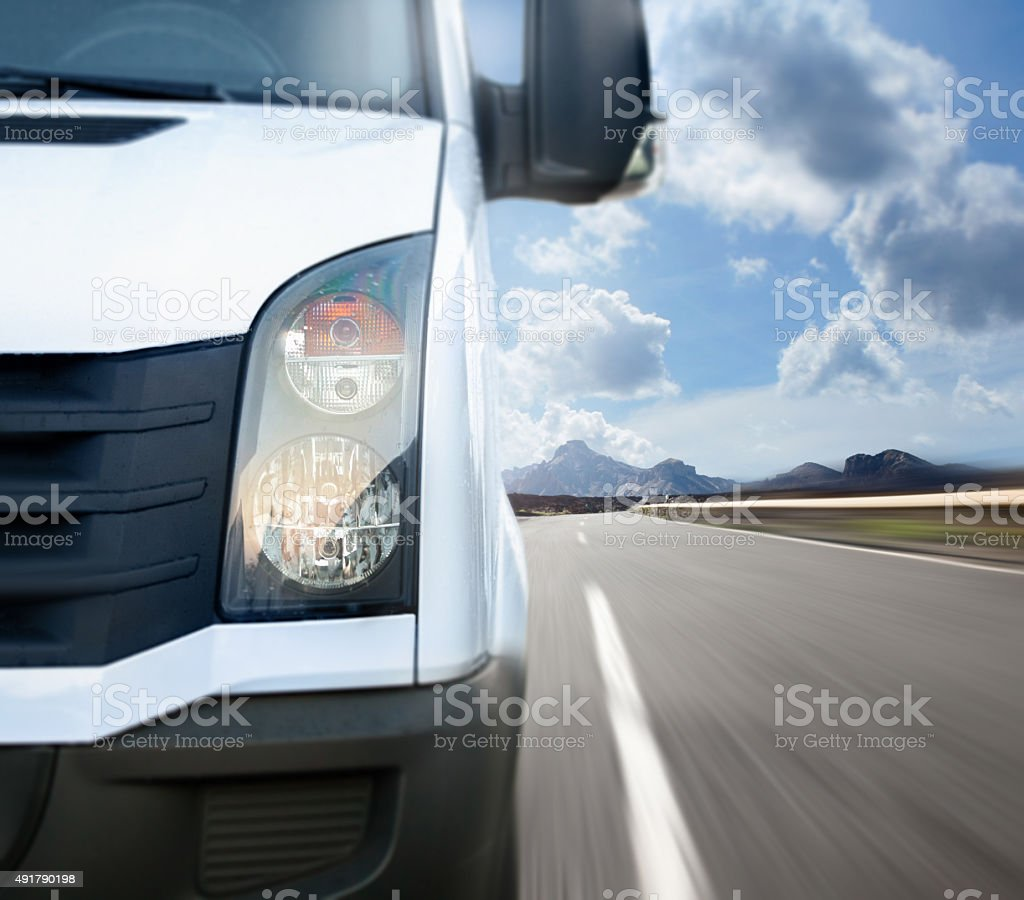 White van on the road stock photo
