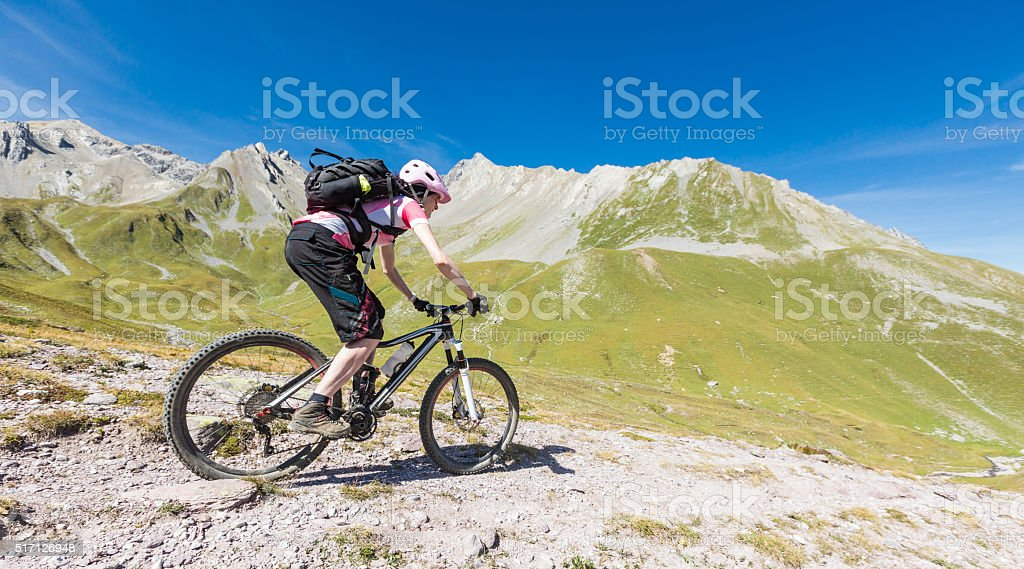 Fast downhill biking at Weltschobel, Switzerland stock photo