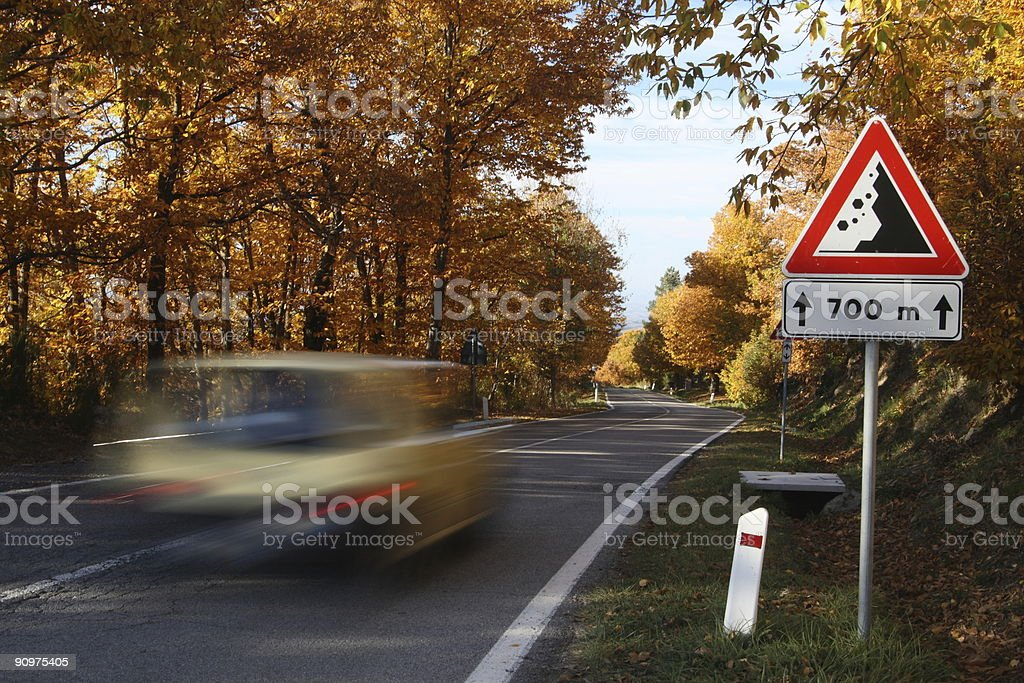 Fast Drive in Autumn royalty-free stock photo