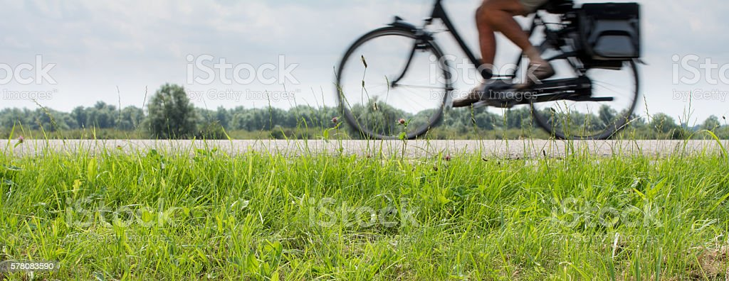 Fast Electric bicycle in motion stock photo