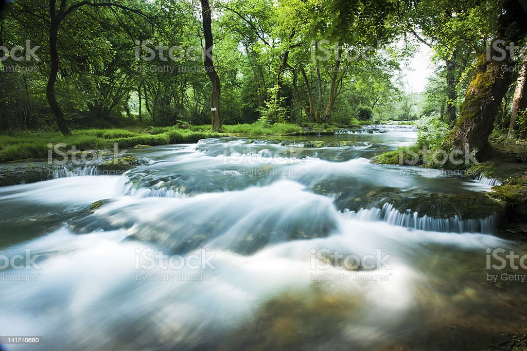 Fast flowing stream stock photo