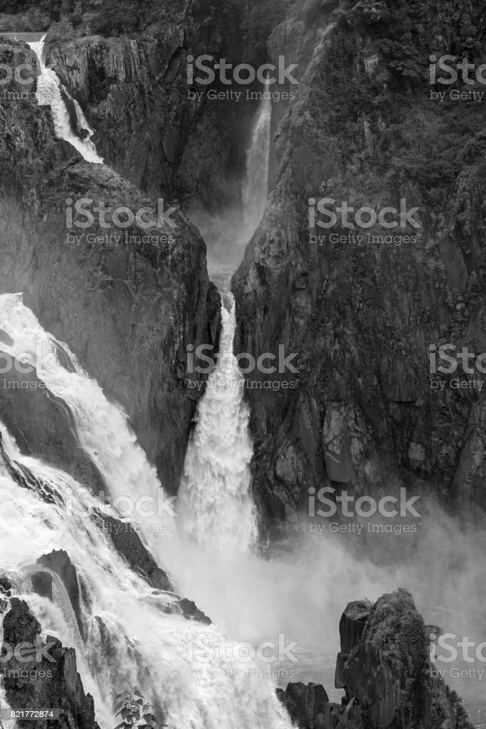 Fast flowing water of the Barron Falls stock photo