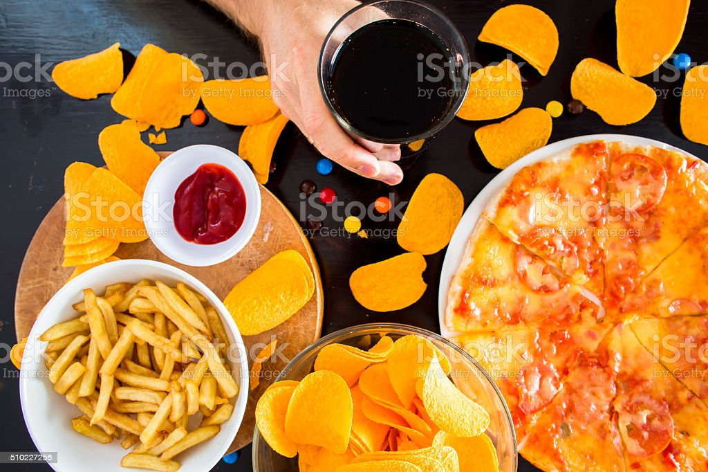 Fast food and unhealthy eating concept stock photo