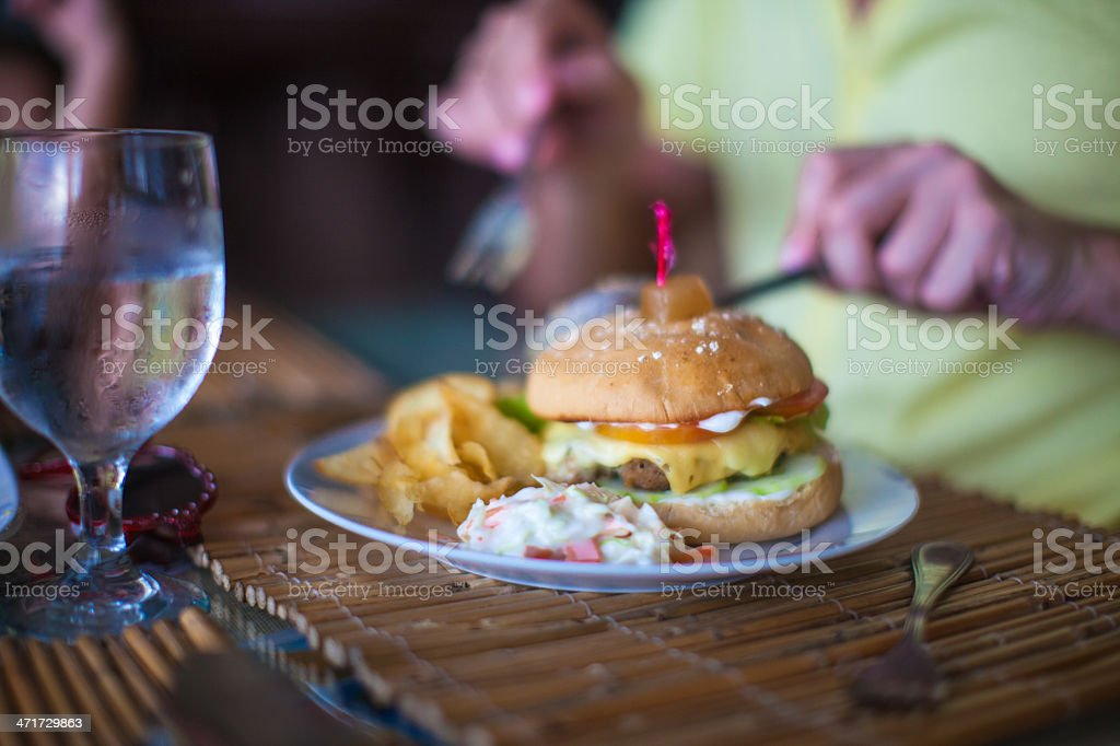 Fast food breakfast on table close up in restaraunt resort stock photo