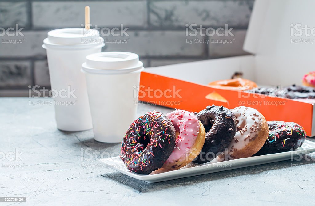 Fast food breakfast with donut stock photo