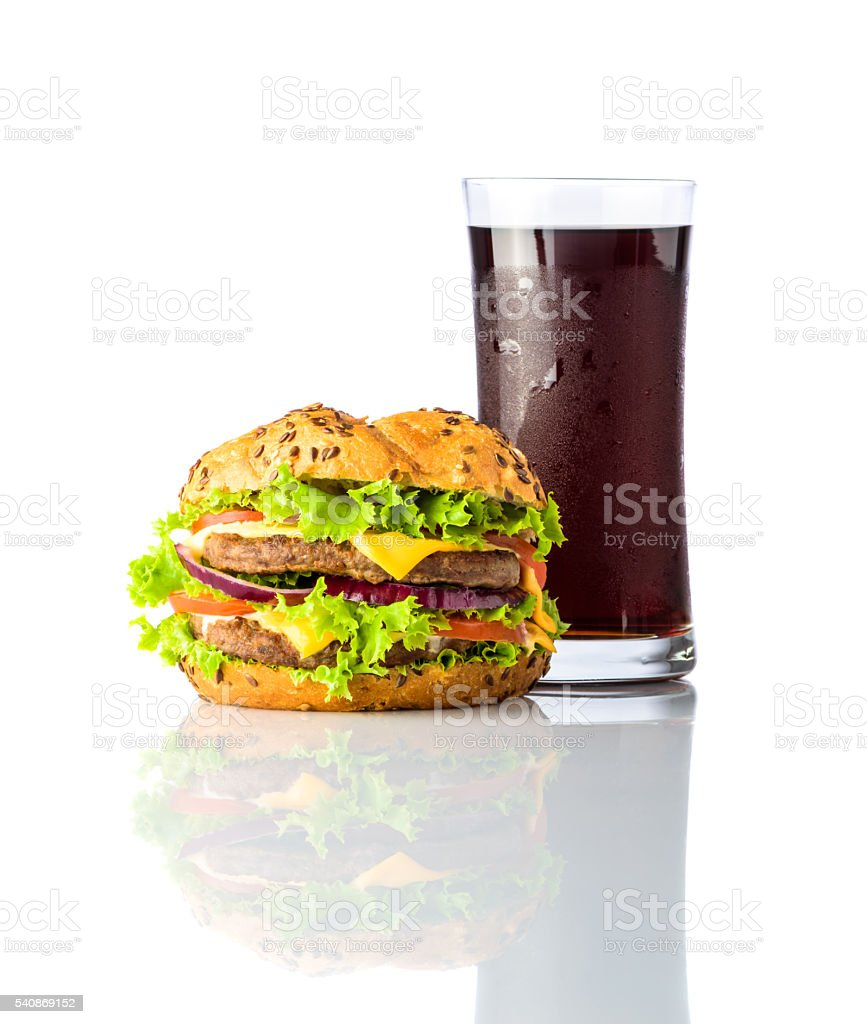 Fast Food Burger with Cold Cola on White Background stock photo