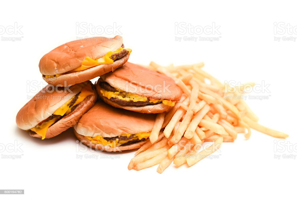 Fast food cheeseburgers and french fries stock photo