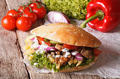 Fast Food: Doner kebab with meat, vegetables and french fries